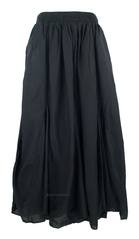 black cotton boho maxi godet flare skirt