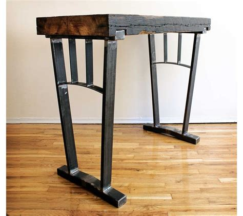 possible desk reclaimed wood bar height table steel