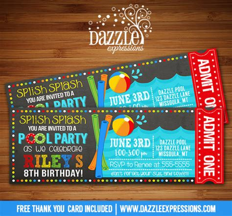 printable ball tickets printable pool party chalkboard birthday invitation