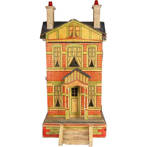 roof design doll house gottschalk blue roof dollhouse with two stories 1910s 1 2
