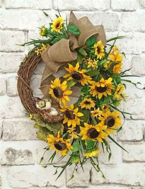 Sunflower Door Wreath sunflower wreath summer wreath for door front door wreath