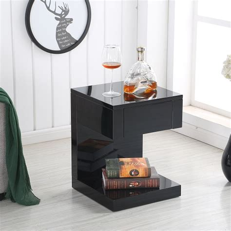 black bedroom side table dixon bedside table in black high gloss with 1 drawer 28934