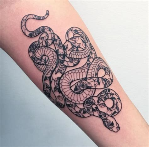 snake and rose tattoo snake and