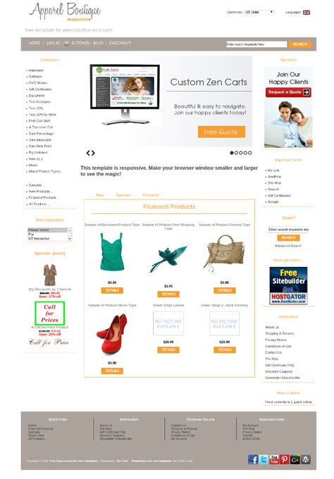 free zen cart templates mobile responsive zen cart template apparel boutique