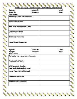 lli lesson plan template lli leveled literacy intervention lesson plan template