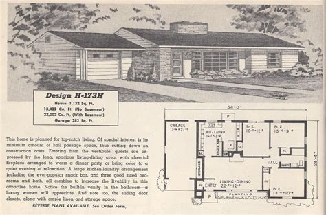 retro ranch house plans retro ranch house plans awesome vintage house plans 173h