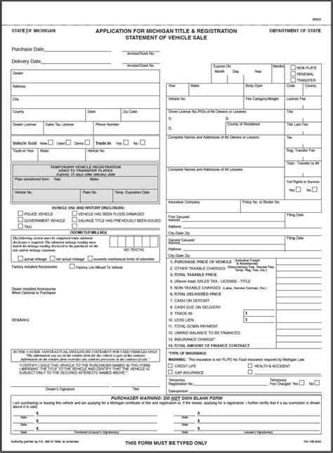 Credit Union Guarantor Form Rd 108 Michigan Title And Registration Form 50 Generic Sets