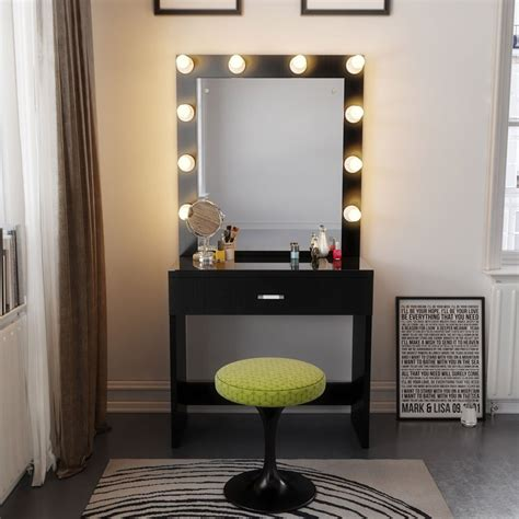 desk with mirror and lights vanity desk with lighted mirror home design ideas and