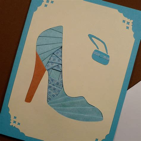 Iris Paper Folding - etsygreetings handmade cards turquoise high heel shoe