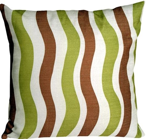 brown green pillows country stripes green and brown 20x20 throw pillow from