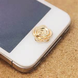 iphone home button decoration new exuquite gold flowers phone accessories home button