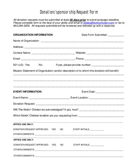Sponsorship Letter Donation Sle Donation Request Form 10 Exles In Pdf Word