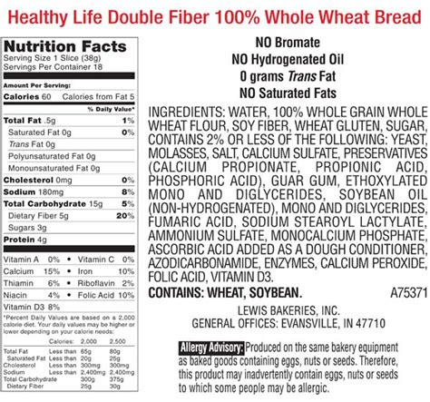 whole grain 100 calorie bread the gallery for gt whole wheat bread nutrition label