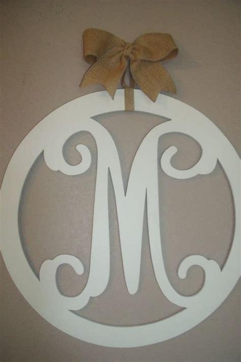 How To Make Wooden Door Hangers by Wood Monogram 20 Inch Vine Letters Burlap Bow Initial Door
