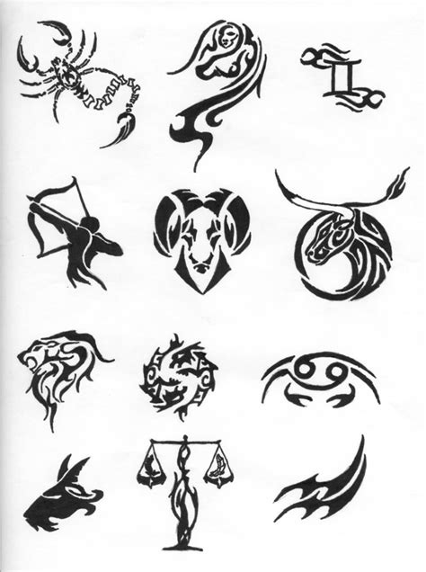 Black Tribal Zodiac Sign Tattoo Designs By Bighood24 Tattoos Of Horoscope Signs