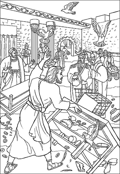 free coloring page jesus in the temple cleansing the temple coloring page