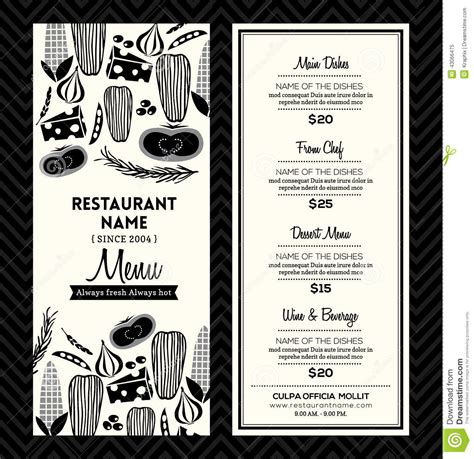 black and white menu black and white restaurant menu design template layout stock vector image 43066475