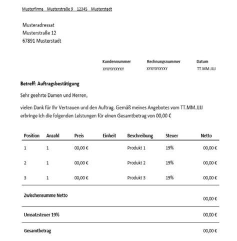 Vorlage Rechnung Odt Auftragsbest 228 Tigung F 252 R Freiberufler Vorlage Muster