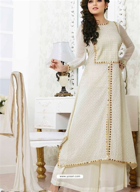 dress design in white colour off white georgette pakistani suits pakistani suits online