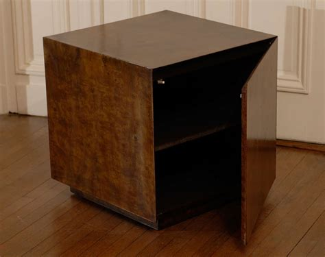Cube Nightstand by Pair Of Milo Baughman Burl Walnut Cube Tables Or