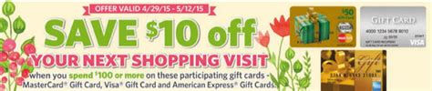 Gift Cards At Food Lion - food lion visa mc amex gc deal get 10 on your next shopping trip with 100 purchase