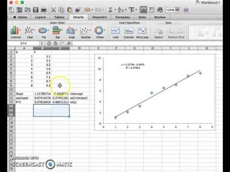 jacob tutorial excel using the linest function on microsoft excel youtube