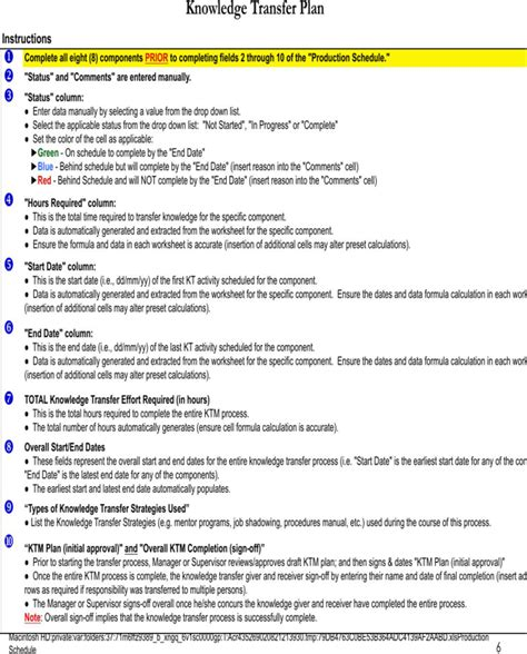 knowledge transfer template free knowledge transfer template for pdf xls page 6
