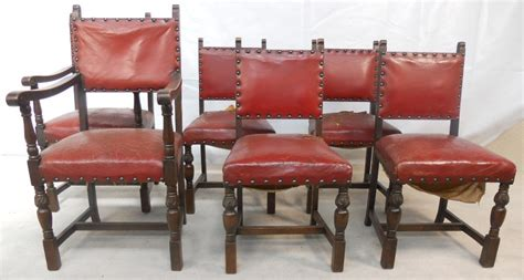 Old Settee Set Of Six Oak Frame Leather Studded Dining Chairs Sold