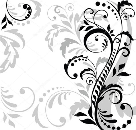 wallpaper vector black and white floral background black and white stock vector