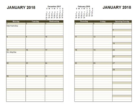 two page monthly calendar template 2018 two page monthly calendar free printable templates