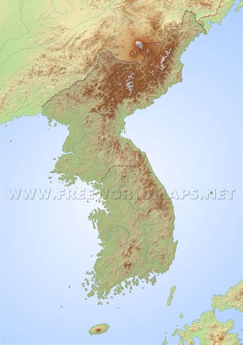 korea physical map south korea physical map