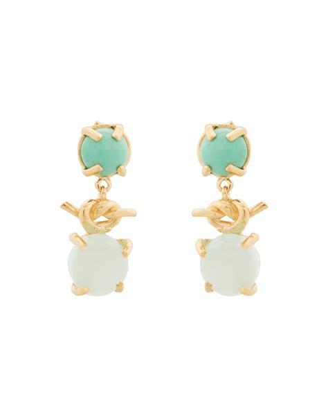 aqua smyths aqua blue chalcedony and gold knot drop earrings hazel