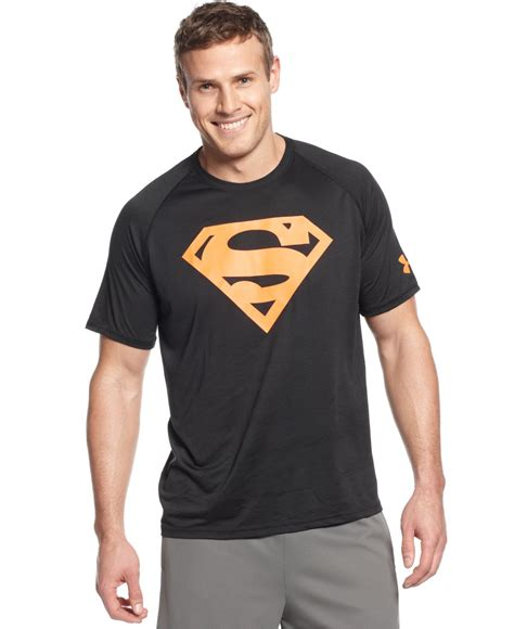 lyst armour ae neon superman graphic t shirt in orange for