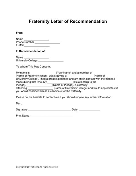 Letter Of Recommendation Kappa Alpha Psi free fraternity letter of recommendation template with