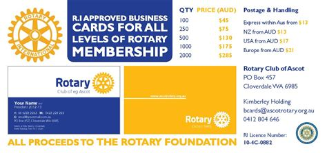 rotary card template official rotary business cards rotary club of ascot