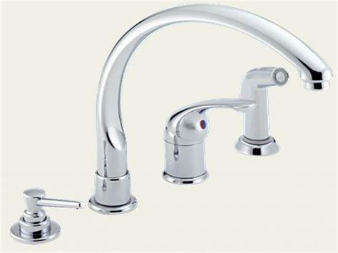 single kitchen faucets delta single handle kitchen faucet with spray delta dst