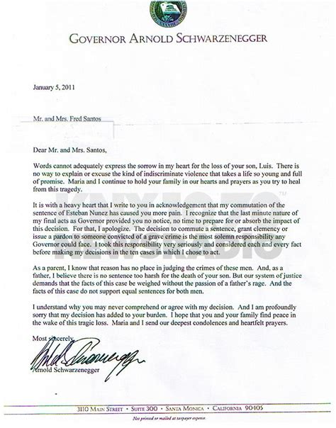 Apology Letter To S Family Schwarzenegger Sent Apology Letter To Victim S Family