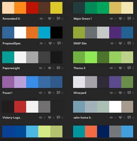 adobe color palettes and wheels on