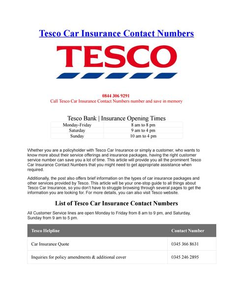 Tesco car insurance contact numbers by Phone Number