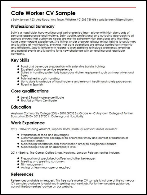 cafe worker cv sle myperfectcv