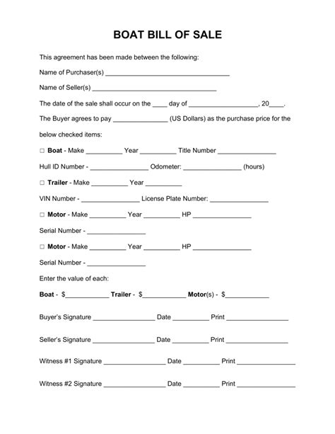 boat bill of sale template free boat vessel bill of sale form word pdf eforms