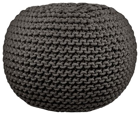 Cable Knit Pouf Ottoman Cable Knit Pouf Gray Contemporary Floor Pillows And Poufs