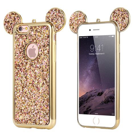 Ap Mickey 3d Glittery High Quality Softcase Iphone 4 5 6 6 Grand bling paillettes soft tpu for iphone x 6 7 plus mickey ear protective cover ebay