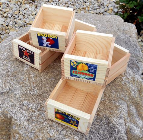 small crate set of six small wooden fruit crates