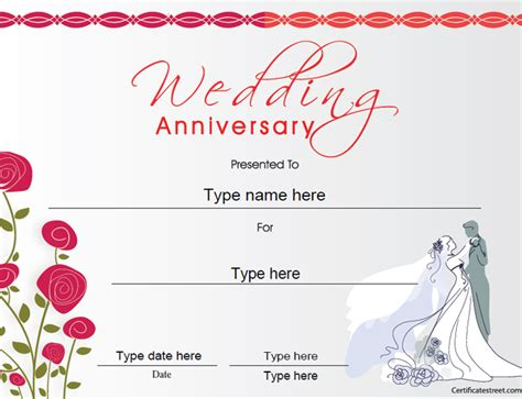 anniversary certificate template certificate free award certificate templates no