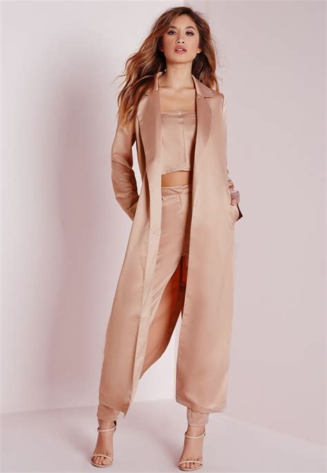 missguided satin belted maxi duster coat pink clothing coats and jackets