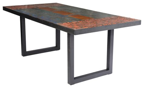 Metal Recycled Oil Drum Dining Room Table   Industrial