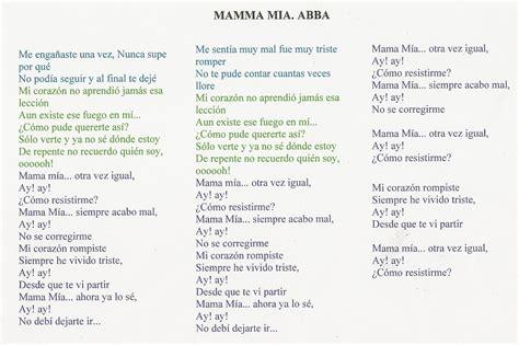 letras de abba letras de canciones de abba m 250 sica mamma m 237 a