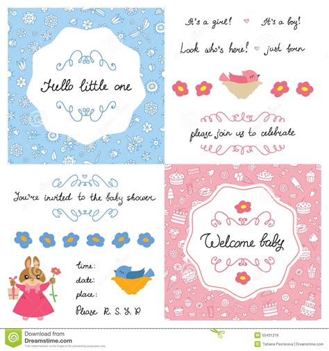 Baby Shower Sts by Baby Shower Set Stock Vector Image 55431216