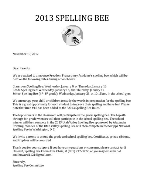 Invitation Letter For Quiz Bee 2013 Spelling Bee Parent Letter And Lists 1